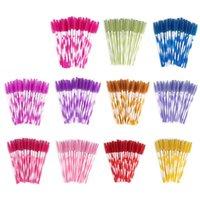 Makeup Brushes Zwellbe 50Pcs Pack Disposable Colorful Eyelash Plastic Handle Eyebrow Mascara Applicator Extension Tool