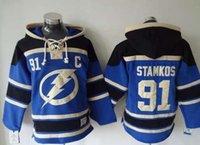 2015 al por mayor hombres s Tampa Bay Lightning 91 Stamkos Blue con capucha Jerseys Hockey Sudaderas con capucha Jerseys Sudaderas Personalizar Número de nombre