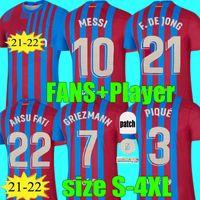 المشجعون لاعب النسخة 2021 2022 Grizmann ميسي كون aguero لكرة القدم الفانيلة برشلونة FC 20 21 22 أنسو فاتي f.de جونغ dest pedri كرة القدم قميص الاطفال مجموعات الرجال حجم s - 4xl