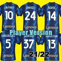 Spielerversion # 10 Lautaro Fussball Jersey Startseite 2021 2022 # 24 Eriksen Fußball Hemd 21/22 Alexis Vidal Skriniar Männer Erwachsene Fußballuniformen