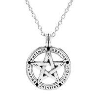 Kolye Kolye Dongsheng Supernatural Pentacle İbranice Charm Pentagram Bildirimi Kolye Erkekler Yıldız Muska Zincir Talisman Kolye-30