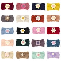 21 Colors Baby Hair Band Accessories Toddler Girls Knitted Headbands Infants flower Turban Hairbands M3851