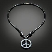 Handgemachte Schmuck Großhandel Perlen Halskette Hämatit Halskette Magnetische Therapie Schmuck Mode Trendy Einfache Anhänger Schwarzer Magnet Halskette