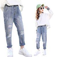 Moda kırık delik çocuklar için kot kız bahar kızlar kot pantolon kızlar için rahat gevşek moda yırtık kot çocuk pantolon 210303