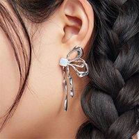 S925 Sier Needle Minority Designer Butterfly Earrings Sier Asymmetric Opal Bow Earrings Female