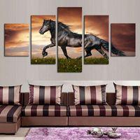 5 шт. / Компл. Unframed бегущая черная лошадь животных живописи на холсте стена искусства изображения для декора гостиной