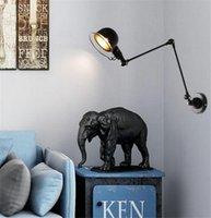 Modern Ayarlanabilir Uzun Salıncak Kol Duvar Lambası Işıkları Okuma 360 Derece Dönebilen Esnek Vintage Siyah Metal Duvar Lambası LED