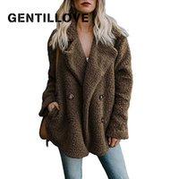 Gentillove Kadınlar Kış Teddy Ceket Kadın Sıcak Faux Kürk İngiltere Rahat Boy Yumuşak Kabarık Polar Ceketler Palto 210906