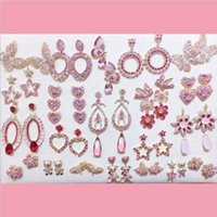Wholesale lots of Mixed 38 Pairs Fashion Women Pink Color Earrings Zircon AAA Gem Beautiful Copper Real Gold Earrings Jewelry Gifts Hot Sale