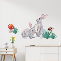 Wall Stickers Watercolor Two Cute Grey On The Grass For Kids Room Baby Nursery Decoration Decals Murals Decor