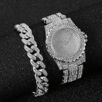 Wristwatches Watch + Bracelet For Women Cuban Chain Charm Iced Out Fashion Luxury Gold Set Jewelry Relojes