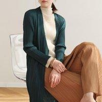 Женская траншея Пальто Cangpleat 2021 Осенние плини Miyake Пальто для женщин Мода Сплошная рукава Свободный Большой Размер
