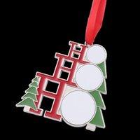 Sublimation Blank Metal Decorazioni natalizie trasferimento termico Babbo Natale Pendente di Natale albero di Natale ornamento ornamento scrivibile regali T2i52402