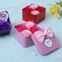 4 pz / scatola rosa sapone fiori bagno corpo corpo petalo sapone profumato fiori rosa con scatola di stagno regalo della festa della mamma FWA3941
