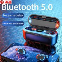 Mini F9 TWS Bluetooth 5.0 Cuffie senza fili auricolari 9D HIFI Stereo Sport Auricolare senza fili impermeabile con microfono