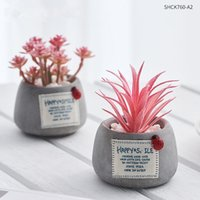 بوعاء النباتات نباتات السيراميك البسيطة بونساي مع الأواني الاسمنت الاصطناعي زهرة النباتات وهمية لحضور الزفاف حديقة ديكور المنزل