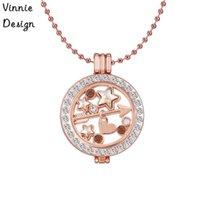 Vinnie Design Jewelry Siempre Pendente in cristallo di cristallo Siempre Pendente in cristallo comprendono 1 Pz Portadisponente Medaglione, 1 Pz Catena a sfera in oro rosa