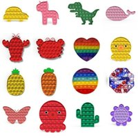 На складе США, флуоресцентный толчок пузырькового вечеринка FIDGET игрушки стресс-рельеве Увеличение фокусировки мягкого сжимания игрушки для взрослых детей