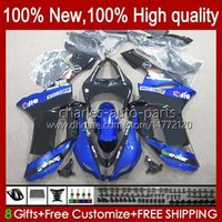 Kroppsarbete för Kawasaki Ninja ZX-600 ZX 6R 600 CC 600CC 6 R 07-08 Body 10NO.126 ZX-6R ZX600C ZX636 2007 2008 ZX 636 ZX600 ZX-636 ZX6R 07 08 Motorcykel Fairing Kit Blue Glossy