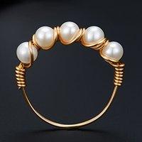 2021 الكورية نمط خمس الخرز الطبيعي الأبيض أصلي اللؤلؤ اليدوية سيدة الدائري هدية الزفاف فتاة الزفاف