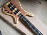 Envío gratis Warr 4 cuerdas Guitarra de bajo, Bajo de madera, Chapa de caoba, ANla peral de 24 trastes, 7 piezas de cuello a través del cuerpo, botón de cromo
