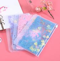 A6 PVC 노트북 포켓 6 홀 반짝이 플라스틱 바인더 삽입 포켓 6 링 느슨한 잎 가방 Filofax 지퍼 봉투 Flackax Wll33