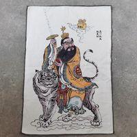 الفنون والحرف الأخرى Taoist تمثال صورة الديباج قماش اللوحة الجد zhang تيانشي ركوب النمر شنقا