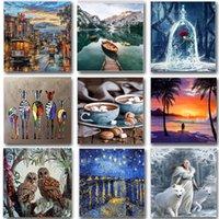Dipinti Pittura animale di numeri Set di paesaggio Set di vernice acrilica Kit fai da te per adulti immagini disegno tela colorazione numero decorazione