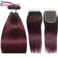Bourgogne Ombre Malaysian Virgin Cheveux Tige 3 Bundles avec fermeture prépurée 1B 99J Heart Hair Hair 4x4 Top Dentelle Fermeture avec extension