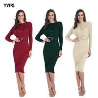 womens chest button dress solid color slim fit belt bag hip skirt ZLE1