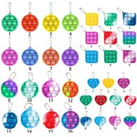 Simple Keychain Poussoir Bubble Fidget Toys Jouets Poppers Decompression Toy Fidgets Chaîne clé Anti-Stress Board H38NTD8