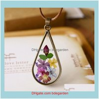 Pendant Jewelry Arrival Handmade Vintage Style Natural Dried Flowers Long Leather Necklaces & Pendants For Women Retro Girl Gift Bronze Jewe