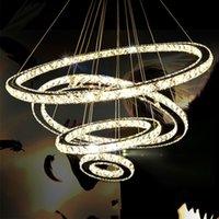 Hanglampen Creatieve roestvrij staal Ronde Ring Crystal Kroonluchter Moderne Minimalistische LED-verlichting Luxe Slaapkamer Restaurant Huishoudelijke Binnenverlichting