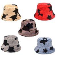 Wide Brim Hats Women Men Vintage Star Pattern Thicken Fuzzy Plush Bucket Hat Winter Warmer Sunscreen Foldable Fisherman Cap