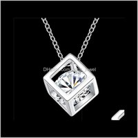 925 Sterling Silver Square Pendant Necklace With Zircon Delicate Beautiful Birthday Present Top Quality Shipping Nkkzo 24Fea