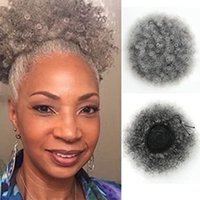 Afro Puff Drawstring Ponytail For Black Women, wraps Short Pony tail Bun Natural Hair, African american Kinky Curly Ponytails Hairpieces With Clips Smoky Gray 120g