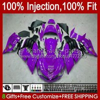 Injection OEM For KAWASAKI NINJA ZZR-1400 ZX 14R 14 R ZZR 1400 CC 06-11 Body 4No.151 ZZR1400 ZX14R 2006 2007 2008 2009 2010 2011 ZX-14R 06 07 08 09 10 11 Fairing purple black