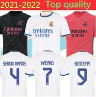 20 21 Real Madrid Hazard João Félix Atlet Long Mens 축구 유니폼 Sergio Ramos 2021 Benzema Isco Kroos Mariano 홈 멀리 3 축구 셔츠
