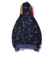Herren Womens Lover Camouflage Hoodies Shark Print Baumwollpullover Hip Hop Casual Lila Rot Camo Cardigan Jacke Mantel Größe M-3XL