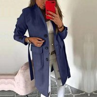 Women's Wool & Blends Autumn Solid Polyester Slim Coats Winter Casual Turn-down Collar Long Sleeve Adjustable Waist Single Breasted Outwear
