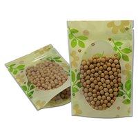 50 unids / lote Clear plástico verde hoja de pie con cremallera Paquete de top Paquete Secado Flor Almacenamiento Doypack Resellable Bolsa de envasado Bolsas