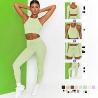 Trajes de mujer Moda de 4 piezas Traje de 4 piezas Leggings de yoga fijados Cintura alta deportiva Pantalones cortos de aptitud Gimnasio Mallas sin fisuras Bra Ropa interior