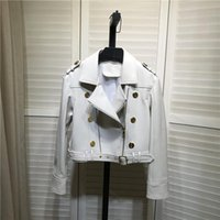여성용 가죽 가짜 가을 여성의 고품질 양피 모터 바이커 자켓 세련 된 정품 짧은 코트 C939
