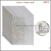 Greeting Cards Event Festive Supplies Home & Garden10Pcs Bride And Groom Hollow Wedding Party Invitations Card Delicate Carved Lace X4Yd1 Dr