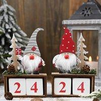 عيد الميلاد سطح المكتب حلية سانتا كلوز جنوم تقويم خشبي مجيء العد التنازلي الديكور المنزلي ديكور المنزل