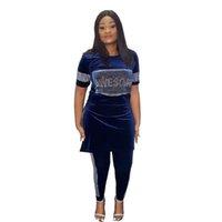 Этническая одежда бархатная африканская одежда 2 части набор женщин осень зима Африка плюс размер высококачественный знаменитый костюм платья