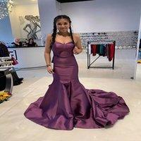 Strapless Mermaid Long Prom Dresses Grape Long Purple Evening Party Gowns Plus Size