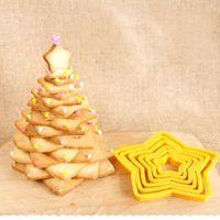 베이킹 금형 6pcs / 세트 별 모양 플라스틱 플런저 커터 쿠키 커터 퐁당 케이크 장식 도구 크리스마스 금형