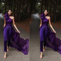 purple evening jumpsuit with long train halter sleeveless prom dress women pants suit saudi arabia celebrity red carpet gowns