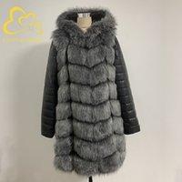 Fanpuguizhen inverno grosso quente falsa casaco de pele de pele: zíper mulheres plus tamanho manga longa removível e jaqueta de pele falsa encapuçado 210222